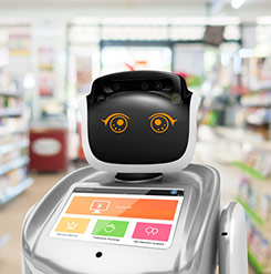 retail service robot, robot in retail, advanced AI robot