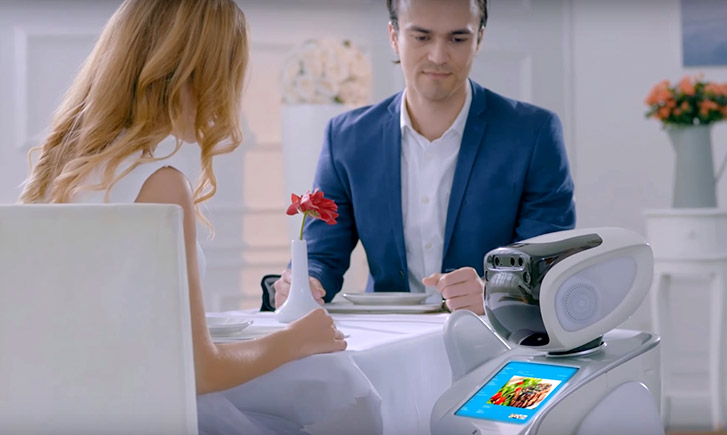 restaurant robot, catering service robot, robot serving in restaurant