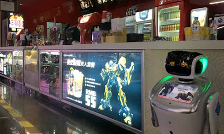 reception robot, sales advertising robot, robot in the theatre